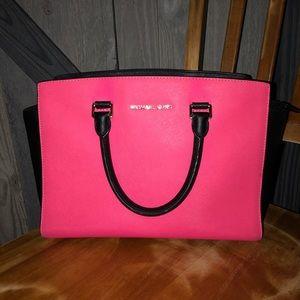 Michael Kors Hot Pink and Black Purse